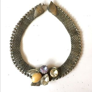 Silver Mesh Crystal Statement Necklace